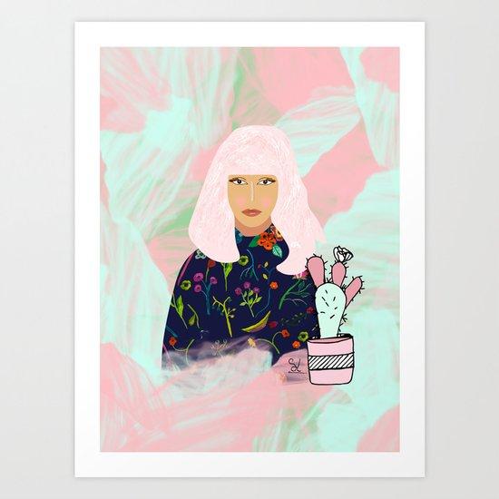 Pink Hair Don't Care I Art Print