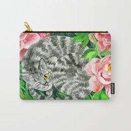 Cat under peonys Carry-All Pouch