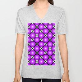 Neon Purple Pattern Unisex V-Neck