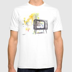 Retro Television Painting MEDIUM White Mens Fitted Tee