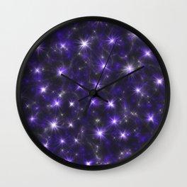 Ultra Violet Stars in a Purple Galaxy Wall Clock
