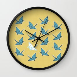 PAPER CRANES BABY BLUE AND YELLOW Wall Clock