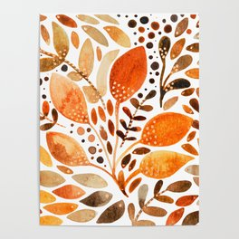 Autumn watercolor leaves Poster