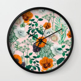 Wildflowers #pattern #illustration Wall Clock