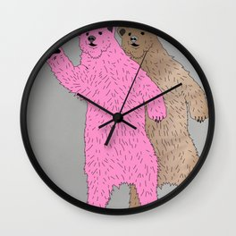 Great Bears Wave To Their Neighbors Wall Clock