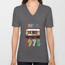 44th Birthday Gift Vintage Classic Mixtape 1975 T Shirt Unisex V-Neck
