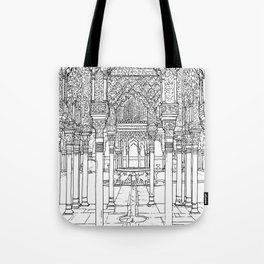 Alhambra palace, Granada, Andalucia - Spain-Black & White Tote Bag