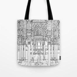 Alhambra palace, Granada, Andalucia - Spain-Black & White Tote Bag