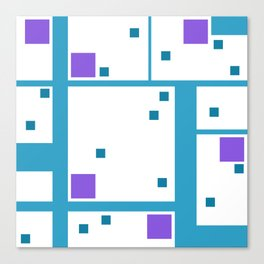 Violet Rectangle with turquoise Lines Canvas Print