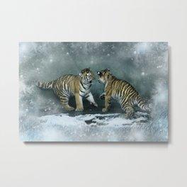 Playful Tiger Cubs Metal Print