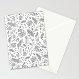 Tropical Leaves in Black and White Stationery Cards