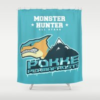 monster hunter Shower Curtains featuring Monster Hunter All Stars - Pokke Permafrosts  by Bleached ink