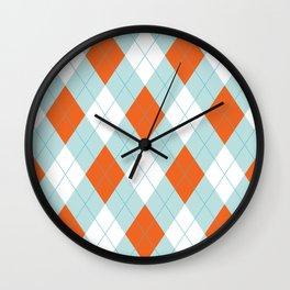 Aqua, Mint and Coral Orange Argyle Pattern Wall Clock