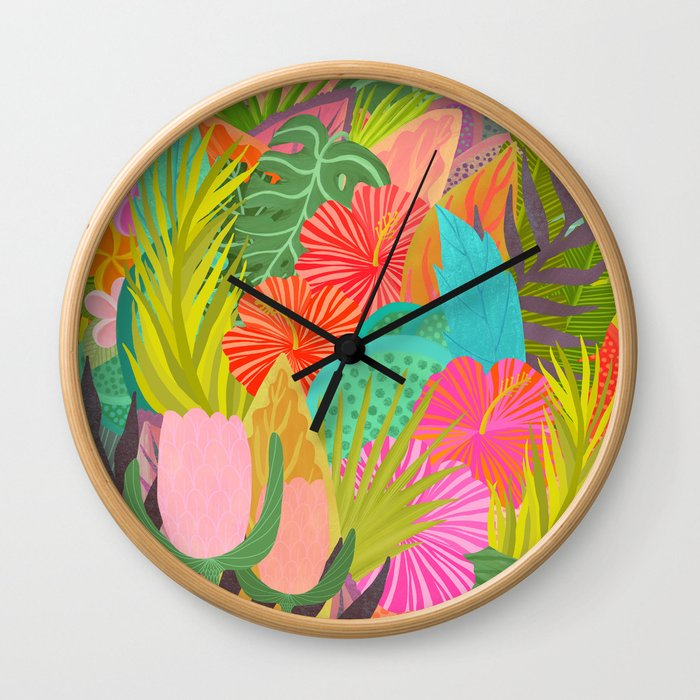 Saturated Tropical Plants and Flowers Wall Clock