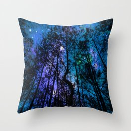 Black Trees Teal Purple Space Throw Pillow