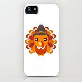 Cute Turkey Wearing A Hat Happy Turkey Day Thanksgiving Save A Turkey Awareness T-shirt Design iPhone Case