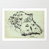 hippo Art Prints featuring Hippo by Julia Kisselmann