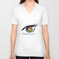 photographer V-neck T-shirts featuring Photographer by Jatmika jati
