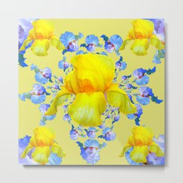 YELLOW & BLUE-WHITE IRIS BLACK ABSTRACT PATTERN Metal Print