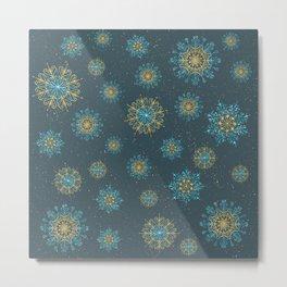 Festive Snowflakes Teal Metal Print
