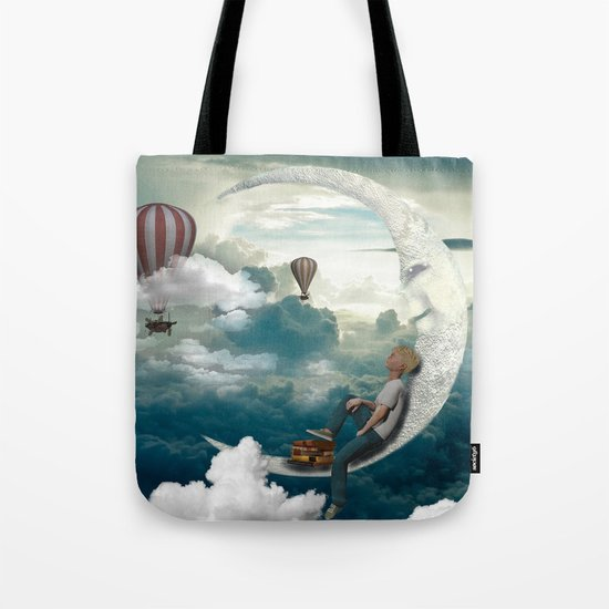 The boy and moon Tote Bag