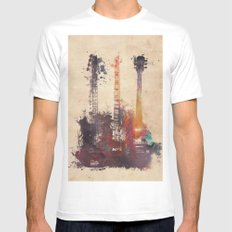 guitars 3 White Mens Fitted Tee MEDIUM