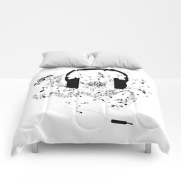 Headphones and Music Notes Comforters