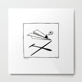 Ninja flies a Paper Plane Metal Print