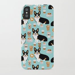Welsh Corgi tri colored coffee lover dog gifts for corgis cafe latte pupuccino iPhone Case