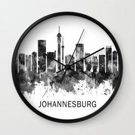 Johannesburg South Africa Skyline BW Wall Clock