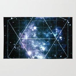 Galaxy Sacred Geometry Deep Ocean Blue Rug
