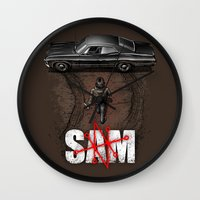 sam smith Wall Clocks featuring Sam by Six Eyed Monster