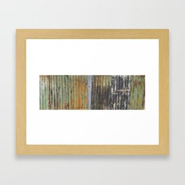 corrugated rusty metal fence paint texture Framed Art Print
