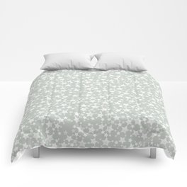 Block Printed Gray Green and White Stars Comforters