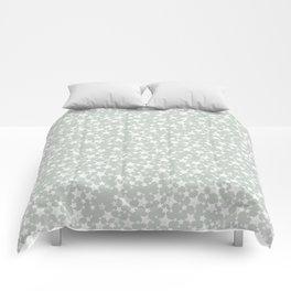 Block Printed Gray Green and White Stars Comforters