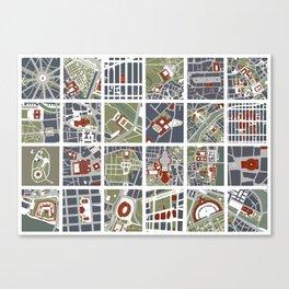 Urban fragments I of NewYork, Paris, London, Berlin, Rome and Seville Canvas Print