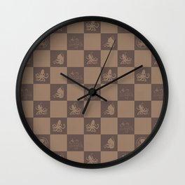 Checkered  octopus art print Wall Clock