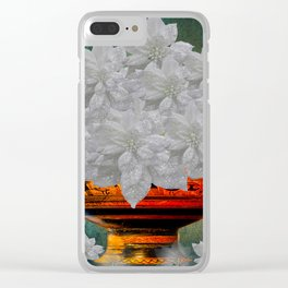 WHITE POINSETTIAS IN A BOWL Clear iPhone Case