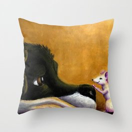 Dog and Mouse Throw Pillow