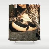 bdsm Shower Curtains featuring funny painting Sex Fuck transgender gay crossdress BDSM fetish sissy submissive owned fetish panty by Velveteen Rodent
