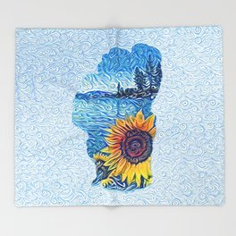 Lake Tahoe Sunflower Throw Blanket