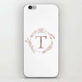 Letter T Rose Gold Pink Initial Monogram iPhone Skin