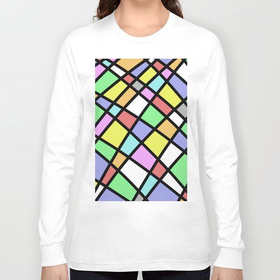 Crazy Pastel Paving - Abstract, pastel coloured mosaic paved pattern Long Sleeve T-shirt