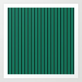 Green , black , striped Art Print