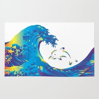 hokusai Area & Throw Rugs featuring Hokusai Rainbow & dolphin_G by FACTORIE