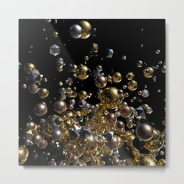 Elegant Abstract Geometry Explosion -Gold and Silver,Black- Metal Print
