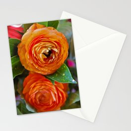 Orange Ranunculus Flowers 2 Stationery Cards