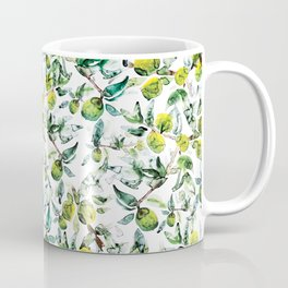 Lime Tree Branch Pattern Watercolor Coffee Mug