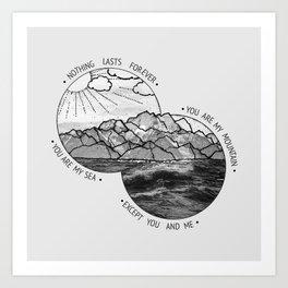 mountains-biffy clyro Art Print