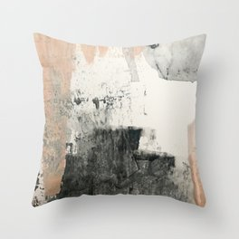 Peace and Quiet [1]: a pretty, minimal abstract piece in gray and peach by Alyssa Hamilton Art Throw Pillow